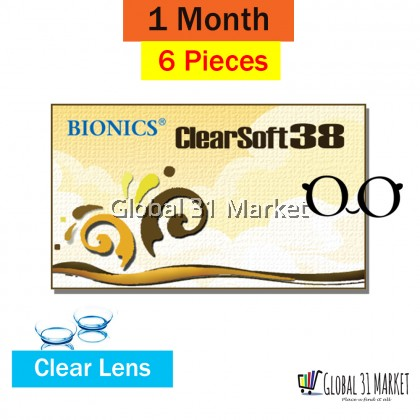Bionics Clear Soft 38 , Clear Monthly contact lens ,14.2 mm , 6piece