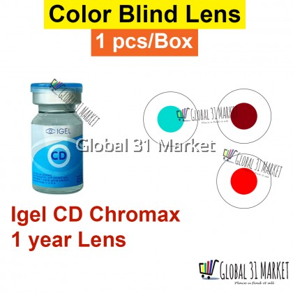 Igel CD Chromax , Colod Blind Contact lens  Green and Red 1 pc/Vial 1 Year disposable